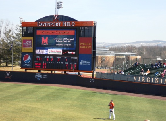 Charlottesville baseball in March is a chilly affair, and there's still snow on the mountain.