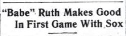 babe ruth makes good headline