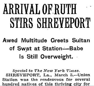 Arrival of Ruth NYT 3 6 1921