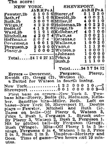 NYT March 13 1921 Yankees Shreveport Box Score