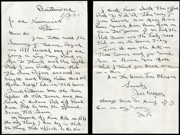 Joe Kelley Letter jan 3 1940