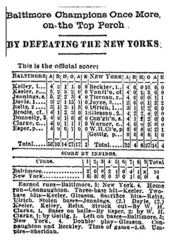 Baltimore Orioles Defeat NY Giants 8 5 1896