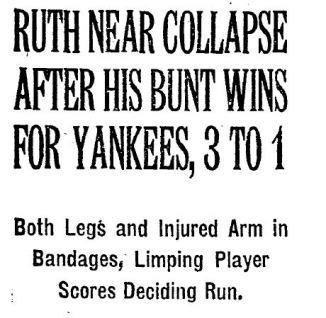 Babe Ruth Bunted NYTimes 10 11 1921