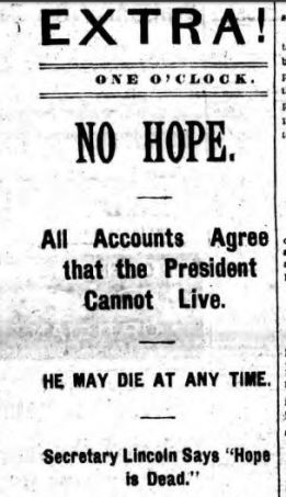 Buffalo Evening News July 4 1881 Hope Is Dead
