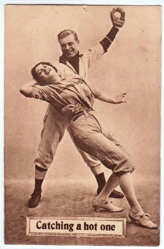 vintage-baseball-postcard-catching-a-hot-one